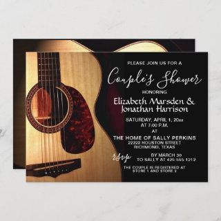 Modern Guitar Musical Handlettered Couple's Shower Invitation