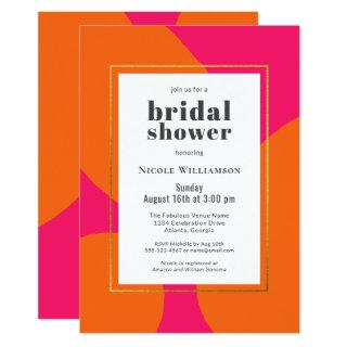 Modern Hot Pink and Orange Abstract Bridal Shower Invitation