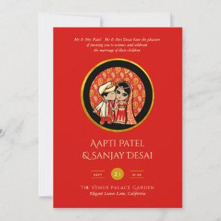 Modern Indian Wedding Invite Save Date Cute Couple