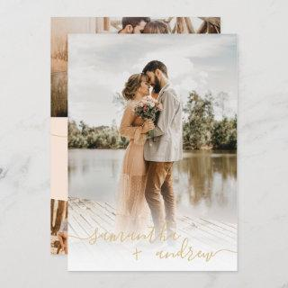 Modern ivory gold minimalist script photos wedding Invitations