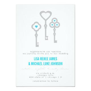 Modern Key with Hearts Wedding Invitations