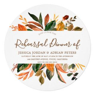 Modern Leaf Wreath Rustic Fall Rehearsal Dinner Invitation