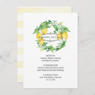 Modern Lemon Floral Citrus Foliage Wedding Details Invitations