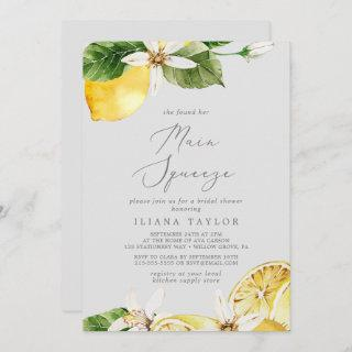 Modern Lemon | Gray Main Squeeze Bridal Shower Invitation