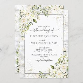 Modern Light Gray White Floral Gold Marble Wedding Invitations