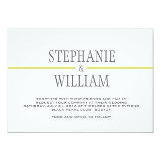 Modern Line Wedding Invitations Card in Lime