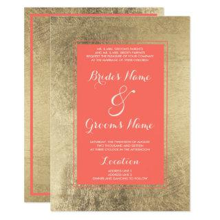 Modern living coral faux gold minimalist Wedding Invitation