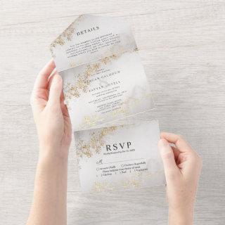 Modern Luxe Gold Flecks Gray Watercolor Wedding All In One