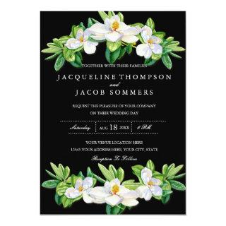Modern Magnolia Blossom Floral Wreath Watercolor Invitation