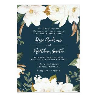 modern magnolia navy floral wedding Invitations