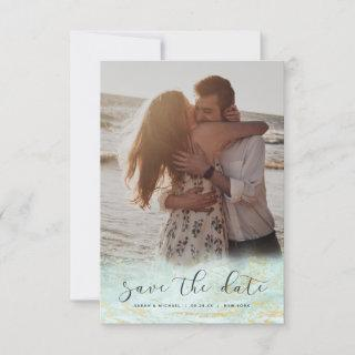 Modern Marble Fade in Ocean Gold Foil Custom Photo Save The Date
