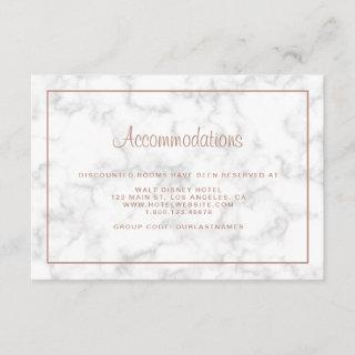 Modern Marble Rose Gold Wedding Accommodations Enclosure Card