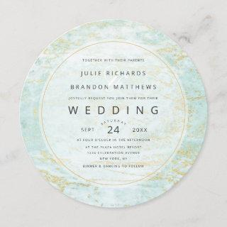 Modern Marbles in Ocean with Gold Circle Wedding Invitations