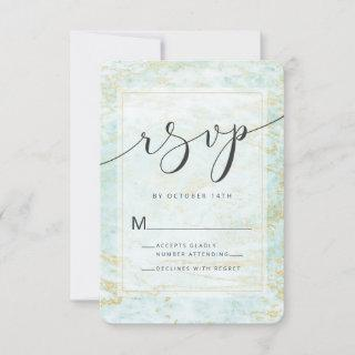 Modern Marbles in Ocean with Gold Foil Edges RSVP Card