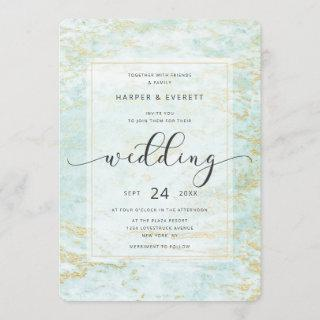 Modern Marbles in Ocean with Gold Foil Wedding Invitations