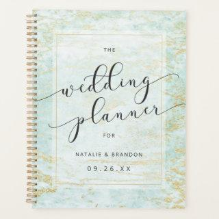 Modern Marbles in Ocean with Gold Wedding Plans Planner