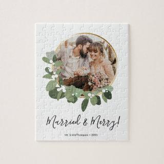 Modern Married and Merry Wedding Photo Christmas Jigsaw Puzzle