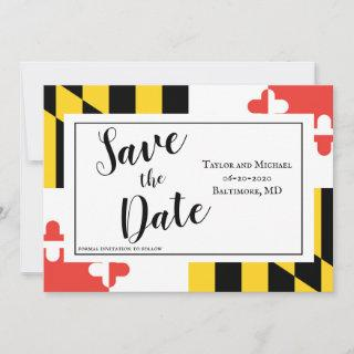 Modern Maryland Flag Save The Date
