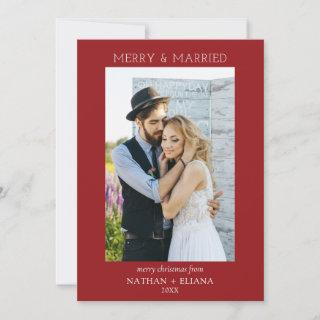 Modern Merry and Married Newlywed Photo Holiday