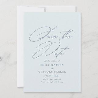 Modern Minimal Calligraphy Dusty Blue Wedding Save The Date