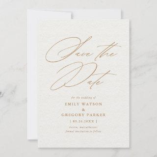 Modern Minimal Calligraphy Gold Wedding Save The Date