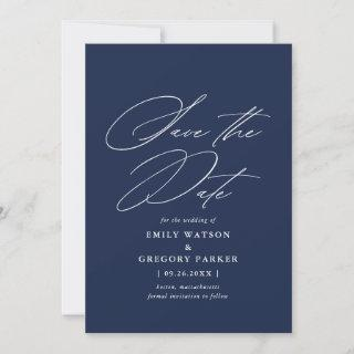 Modern Minimal Calligraphy Navy Blue Wedding Save The Date