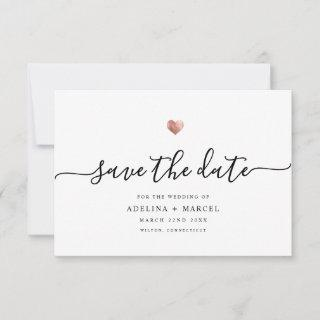 Modern Minimal Calligraphy Rose Gold Save The Date