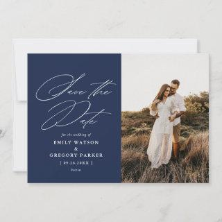 Modern Minimal Calligraphy Wedding Photo Save The Date