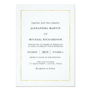 Modern Minimal | Faux Gold Border Wedding Invitations
