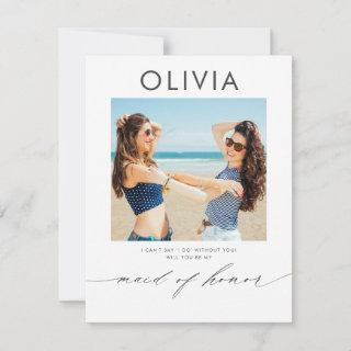 Modern Minimal Will You Be My Maid of Honor Photo