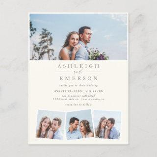 Modern Minimalist Beige Photo Collage Wedding Invitation Postcard