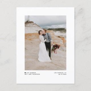 Modern Minimalist Black Just Married Photo Wedding Announcement Postcard