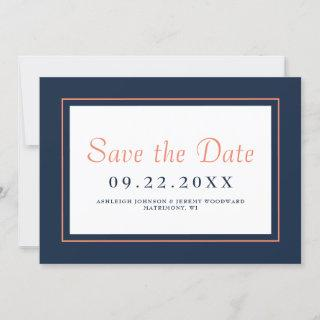 Modern Minimalist Navy Blue and Coral Horizontal Save The Date