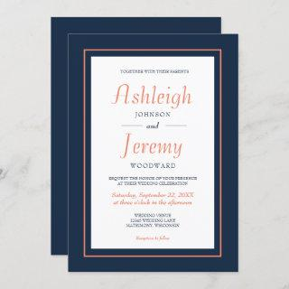 Modern Minimalist Navy Blue and Coral Wedding Invitations