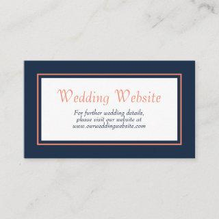 Modern Minimalist Navy Blue Coral Wedding Website Enclosure Card