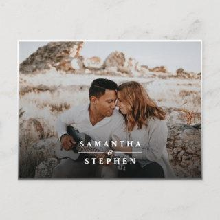 Modern Minimalist Photo Wedding Invitations Postcard