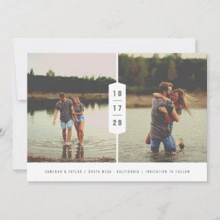 Modern Minimalist Stacked Numbers 2 Multi Photo Save The Date