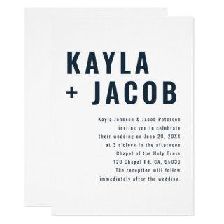 Modern + Minimalist Typography Wedding Invitation