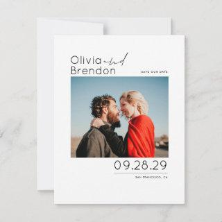 Modern Minimalist White Save the Date Photo