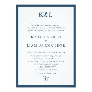 Modern Monogram Ampersand Navy Wedding Invitation