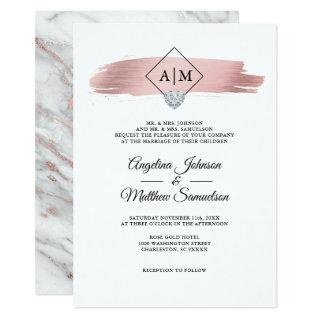 Modern Monograms Rose Gold Marble Heart Wedding Invitations