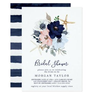 Modern Nautical | Floral Bridal Shower Invitation