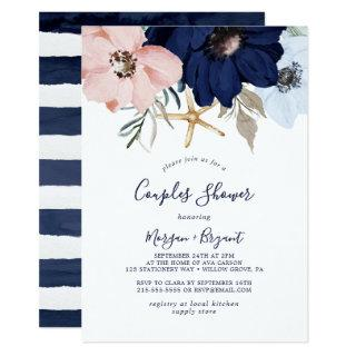 Modern Nautical | Floral Couples Shower Invitations