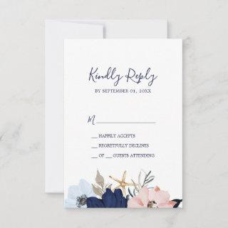 Modern Nautical | Floral Simple RSVP Card