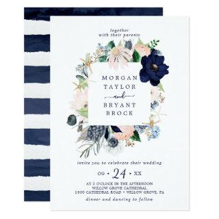 Modern Nautical | Floral Square Frame Wedding Invitation
