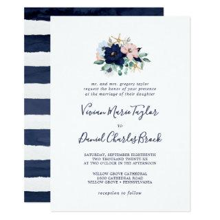 Modern Nautical | Floral Traditional Wedding Invitations