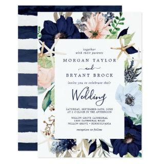Modern Nautical | Floral Wedding Invitations