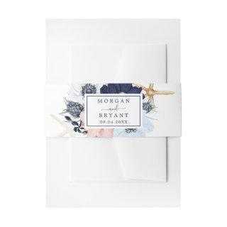 Modern Nautical | Floral Wedding Invitations Belly Band