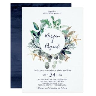 Modern Nautical | Greenery All In One Wedding Invitation