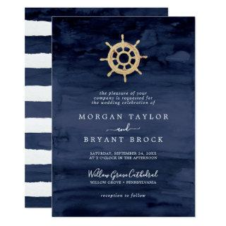 Modern Nautical | Ship Helm Formal Wedding Invitations